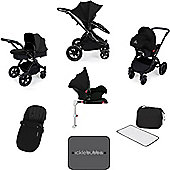 Ickle Bubba Stomp V3 AIO Travel System with 2 x Isofix Base + Mosquito Net Black (Black Chassis)