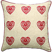 Catherine Lansfield Vintage Hearts Red Cushion Cover - 43x43cm