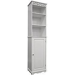 Scroll - Floor Standing Tall Bathroom Storage Cupboard - White
