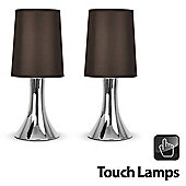 Pair of Trumpet Touch Table Lamps in Chrome with  Shades