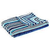 Tonal Stripe Blue Printed Fleece Blanket