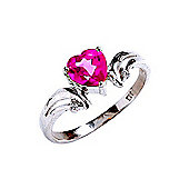 QP Jewellers Diamond & Pink Topaz Affection Heart Ring in 14K White Gold