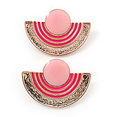Light/ Deep Pink Enamel 'Half Moon' Egyptian Style Stud Earrings In Gold Plating - 45mm Width