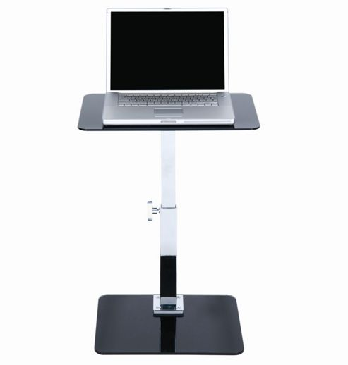 LEVV Adjustable Laptop Table in Black Glass