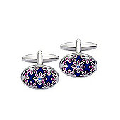 Blue Enamel and Pink Flower Oval Cufflinks - By Aston Brown