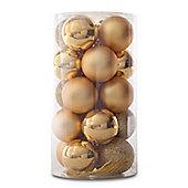 Pack of 20 Glitter, Matte & Shiny Gold 4cm Christmas Baubles