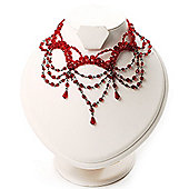 Victorian Style Hot Red Beaded Choker