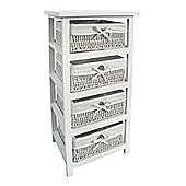Premier Housewares Storage Unit with Four Maize Baskets - White