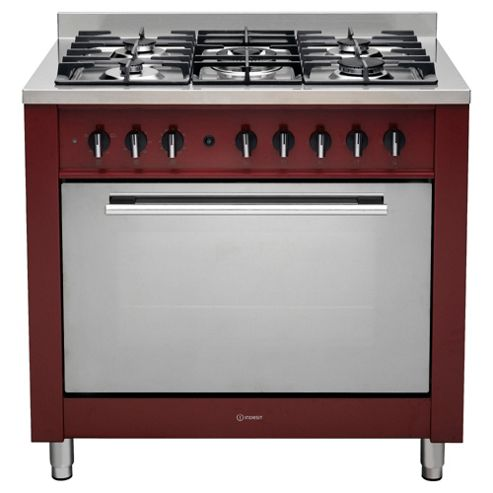 Indesit KP9F11S(R)/GS, Silver, Gas Cooker, Single Oven, 90cm