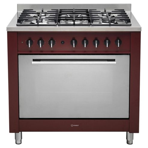 Indesit KP9F11SR/GS, Freestanding, Gas Cooker, 90cm, Red, Single Cavity, Single Oven
