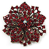 Victorian Corsage Flower Brooch (Burgundy Red & Antique Gold)