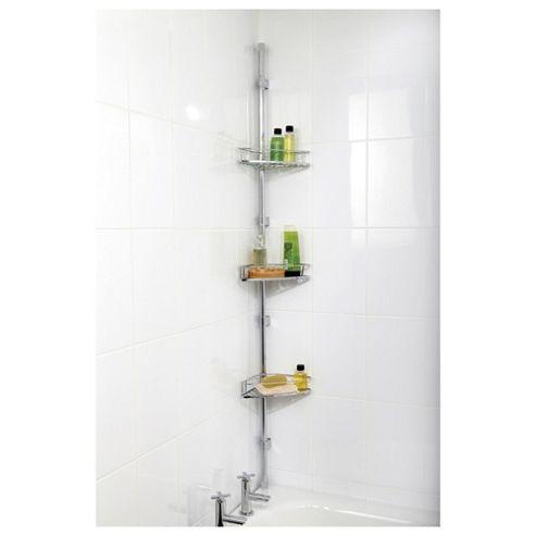 Chrome Adjustable Shower Organiser Caddy Bathroom Durable