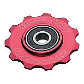Acor 10T CNC Alloy Jockey Wheel: Red.