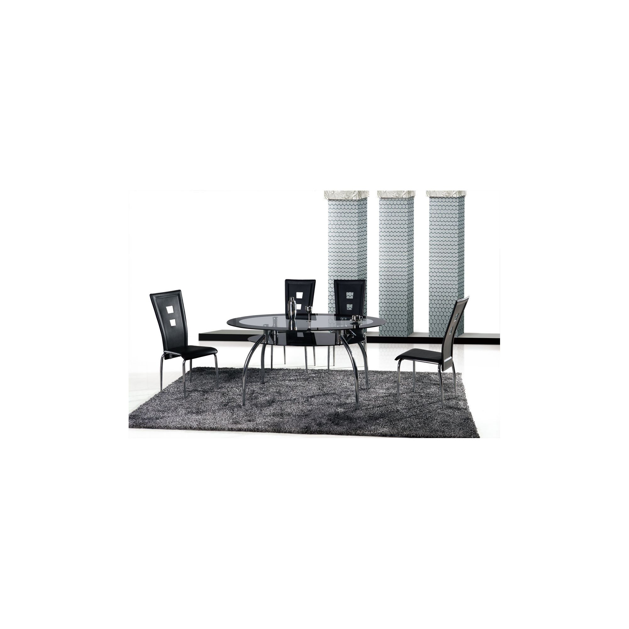Ideal Furniture Vegas Dining Table Set with Four Chairs - Black at Tesco Direct