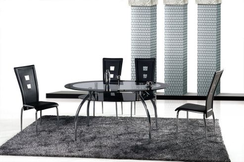 Ideal Furniture Vegas Dining Table Set with Four Chairs - Black