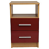 Jazz 2 Drawer Bedside Cabinet Oak & Red Gloss