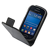 Tortoise™ Genuine Leather Flip Case, Samsung Galaxy Fame. Black.
