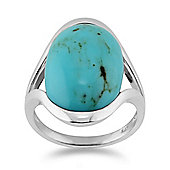Gemondo Sterling Silver 8.50ct Turquoise Cabochon Oval Half Bezel Single Stone Ring