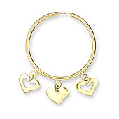 Jewelco London 9ct Yellow gold Hoops - Dangling Hearts