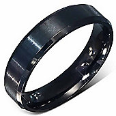 Urban Male Black Plated Brushed Stainless Steel Ring