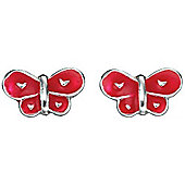 Girl's Red Butterfly Stud Earrings