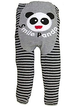 Dotty Fish Knitted Baby Leggings - Smiling Panda - Grey & Black
