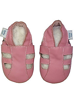 Dotty Fish Soft Leather Baby Sandal - Pink - Pink