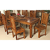 Elements Cubex Petite 135cm Dining Table Set in Warm Lacquer