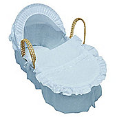 Cuddles Collection Broderie Anglais Moses Basket (Blue)