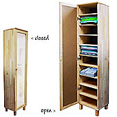 Pine - Solid Wood Mirrored Shoe / Jumper Storage Cabinet