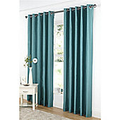 Dreams and Drapes Java Lined Eyelet Faux Silk Curtains 90x90 inches (228x228cm) - Teal