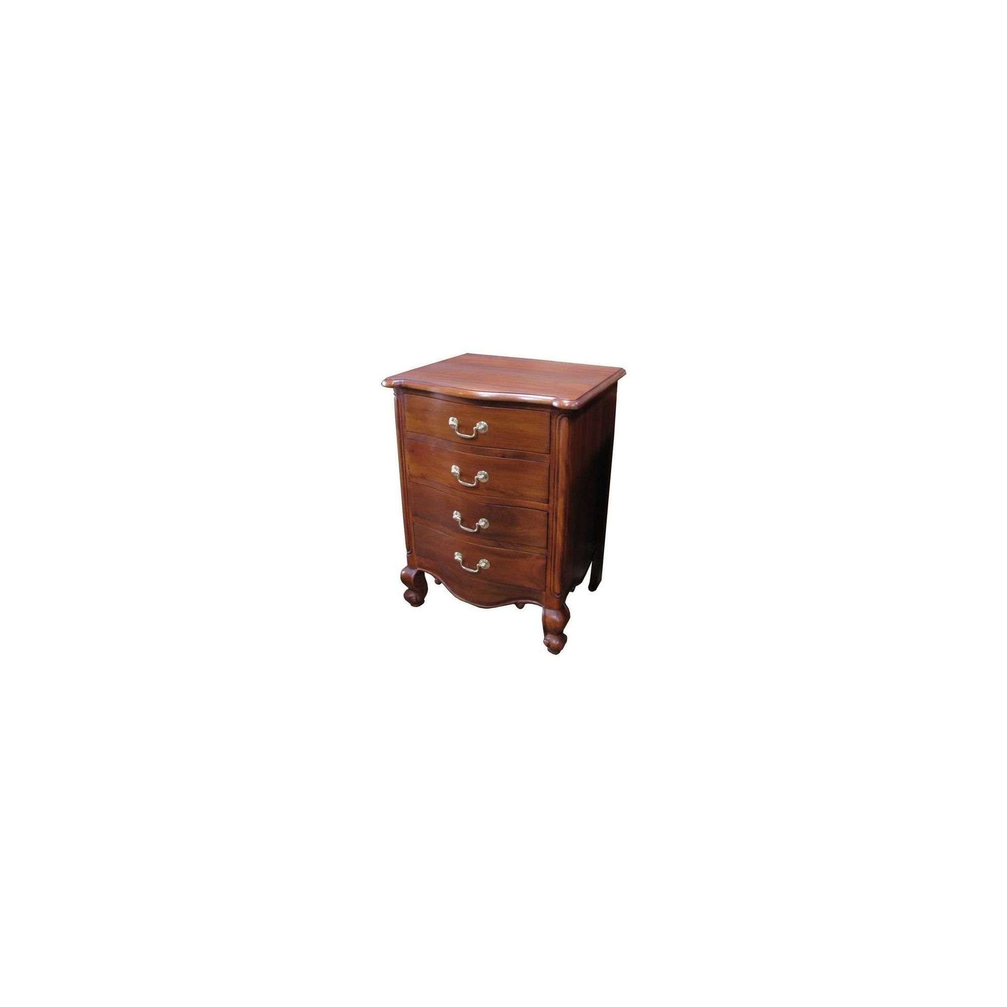 Lock stock and barrel Mahogany Louis 4 Drawer Bedside Table in Mahogany - Wax at Tesco Direct