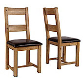 Westbury Reclaimed Oak Leather Dining Chair - Pair