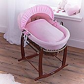 Clair de Lune Dark Wicker Moses Basket (Cotton Candy Pink)