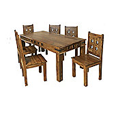 Elements Jaitu Block 135cm Dining Table Set in Warm Lacquer