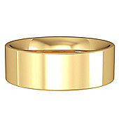 Jewelco London 9ct Yellow Gold - 7mm Flat-Court Band Wedding Commitment / Wedding Ring -