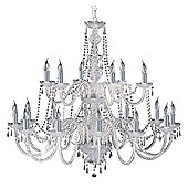 Large Chandelier Light Fixture with Clear Crystal Decoration
