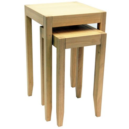 Techstyle Solid Wood Nest of Two Tables - Natural
