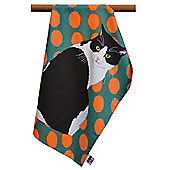 Leslie Gerry Black & White Cat Design Tea Towel
