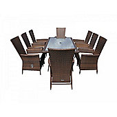 Cambridge 8 Reclining Chairs And Large Rectangular Table Set in Chocolate Mix and Coffee Cream
