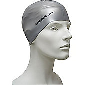 Speedo Senior Flat Silicone Swimming Cap - Silver