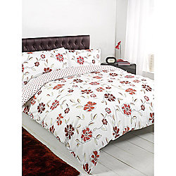 Floral Polka Red Duvet Cover Set - Single