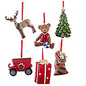 Set of 6 Vintage Inspired Traditional Hanging Christmas Tree Decorations