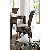 Whitehaven Painted Wing Back Rattan Dining Chairs With Cushion -