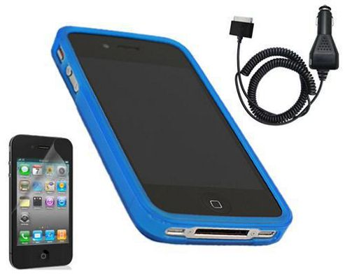iTALKonline 12011 Blue ProGel Case, LCD Screen Protector, Car Charger - Apple iPhone 4