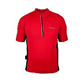 Rush Mens Short Sleeve Exercise Active Base Layer Top - Red