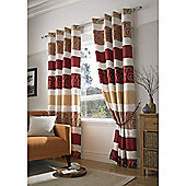 Grosvenor Jacquard Organza Eyelet Lined Curtains - Red