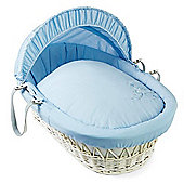 Clair de Lune White Wicker Moses Basket (Starburst Blue)