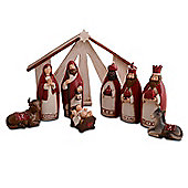 Christmas Nativity Nine Piece Set In Red & Cream