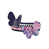 B Girl's Butterfly and Stripy Hair Ties - 4 Pack